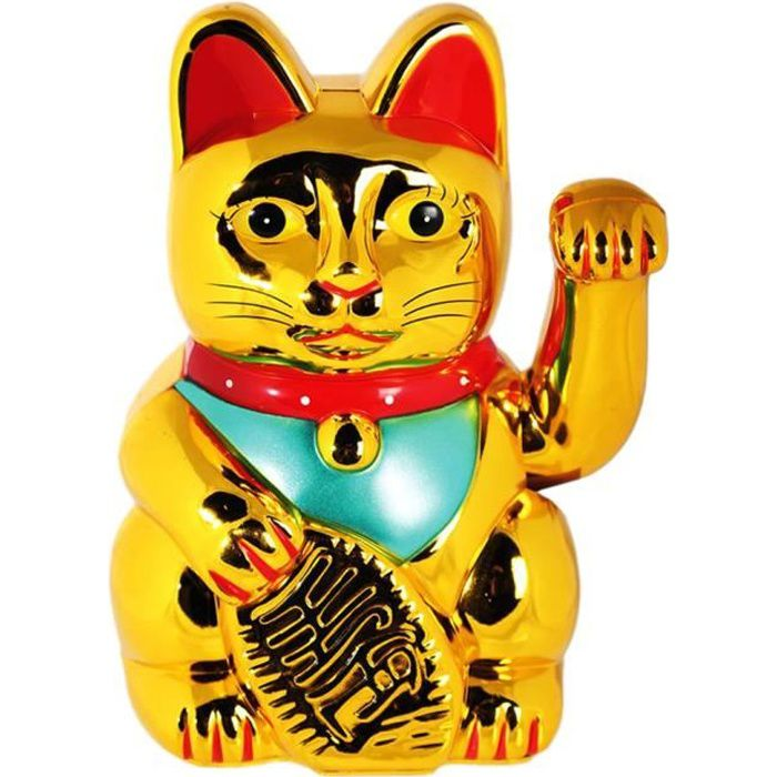 SODIAL R Chat Chinois Porte-bonheur a Bras Mobile Lucky Cat Lucky Cat