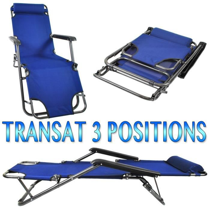chaise longue transat 3 positions fauteuil pliable jardin piscine plage marine achat vente. Black Bedroom Furniture Sets. Home Design Ideas