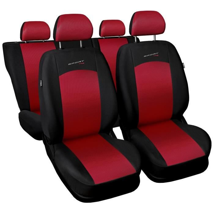 housse de si ge pour renault kangoo i ii iii iv sportline rouge tissu de revetement airmesh avec. Black Bedroom Furniture Sets. Home Design Ideas