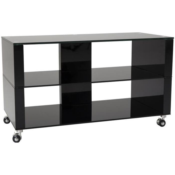 denver meuble tv sur roulettes 90 cm laqu noir brillant achat vente meuble tv denver. Black Bedroom Furniture Sets. Home Design Ideas