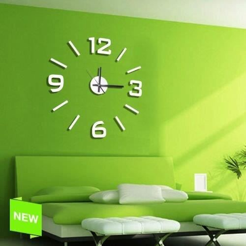 horloge murale auto adh sive blanc achat vente horloge cdiscount. Black Bedroom Furniture Sets. Home Design Ideas