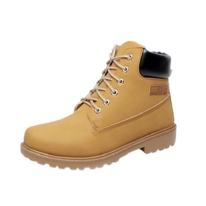 Mode Homme Bottine Martine Boots en Cuir PU Bru