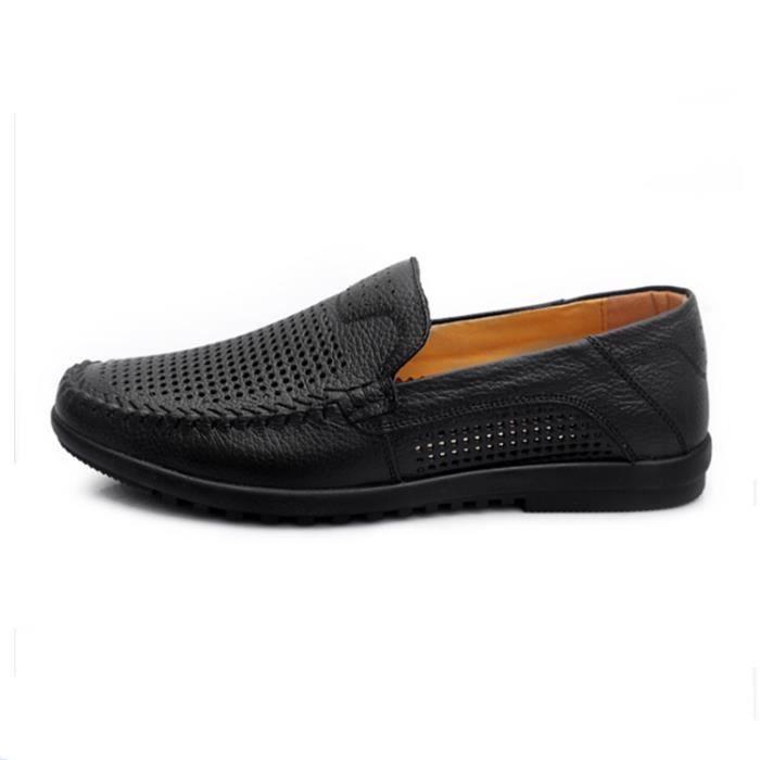 Troué Homme Aéré En Cuire Stylé Mocassins Tige Chaussures Bas Confort Véritable 2W9IHED