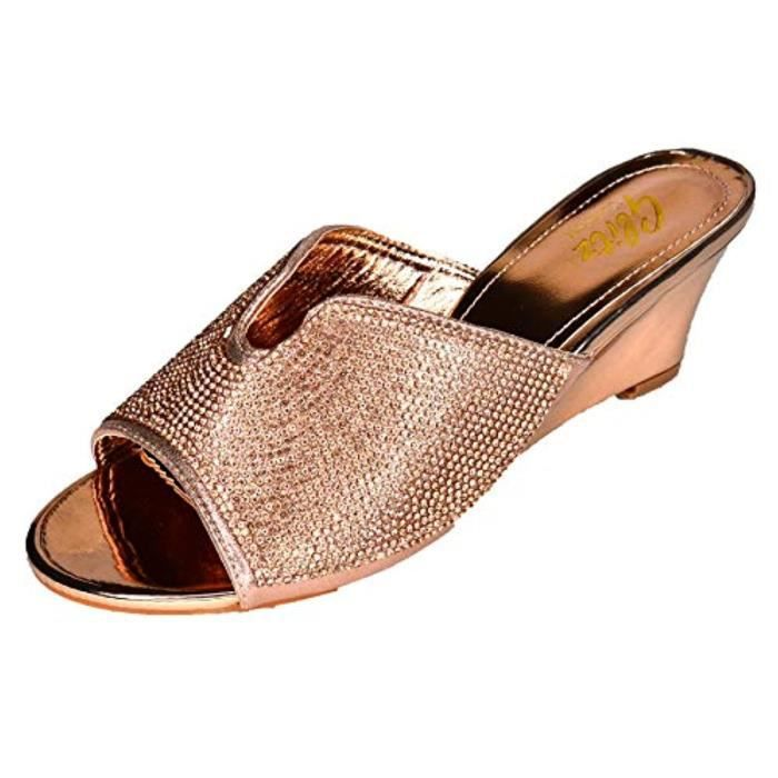 Femme Champagne Brillant Strass Bas Plate-forme Wedge Sandales Bout Ouvert coussin en mousse