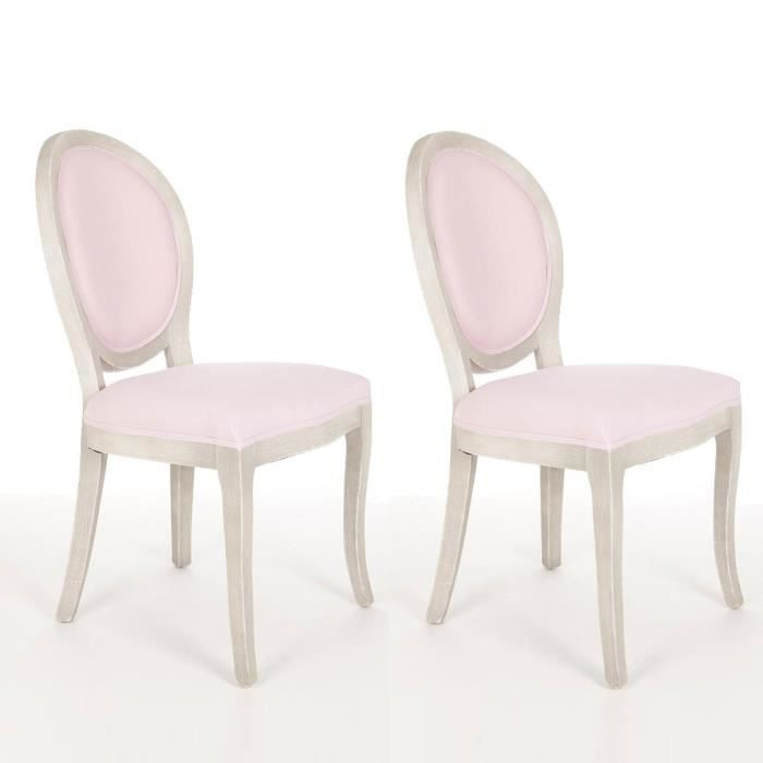 paris prix lot de 2 chaises m daillon cl on rose achat vente chaise gris cdiscount. Black Bedroom Furniture Sets. Home Design Ideas