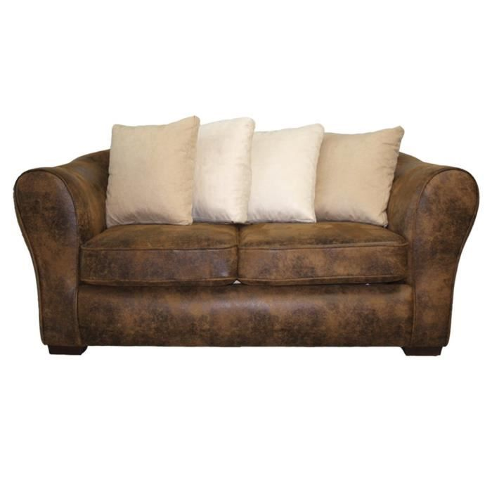 Canap fixe 2 places switsofa montana simili micro achat for Canape fixe 2 places