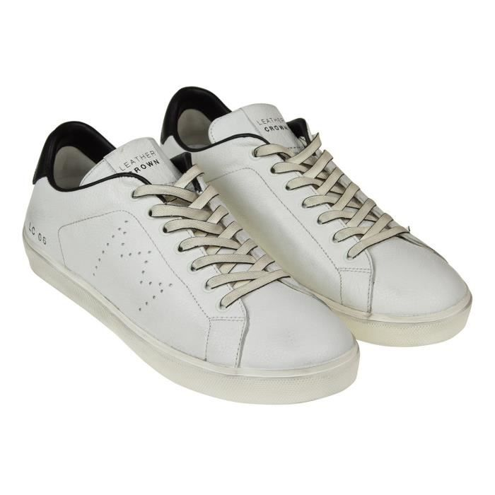 LEATHER CROWN HOMME MICONIC3 BLANC CUIR BASKETS