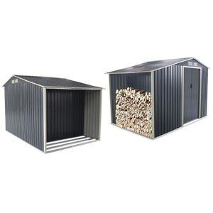 ABRI JARDIN - CHALET Abri de jardin + bûcher en métal 8,7m² gris anthra