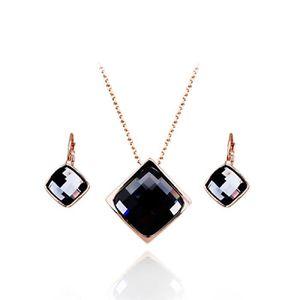 Ensemble collier et boucles doreille 18 carats plaqu/é or blanc avec cristaux autrichiens multicouleurs en zircone