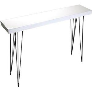 CONSOLE Table d'Entrée Console en Bois Laqué Blanc et Méta
