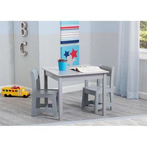 TABLE ET CHAISE DELTAKIDS - Table et 2 Chaises Bois Enfant - Gris