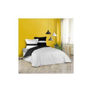 HOUSSE DE COUETTE ET TAIES Parure de lit géométrie en noir et blanc blanc et