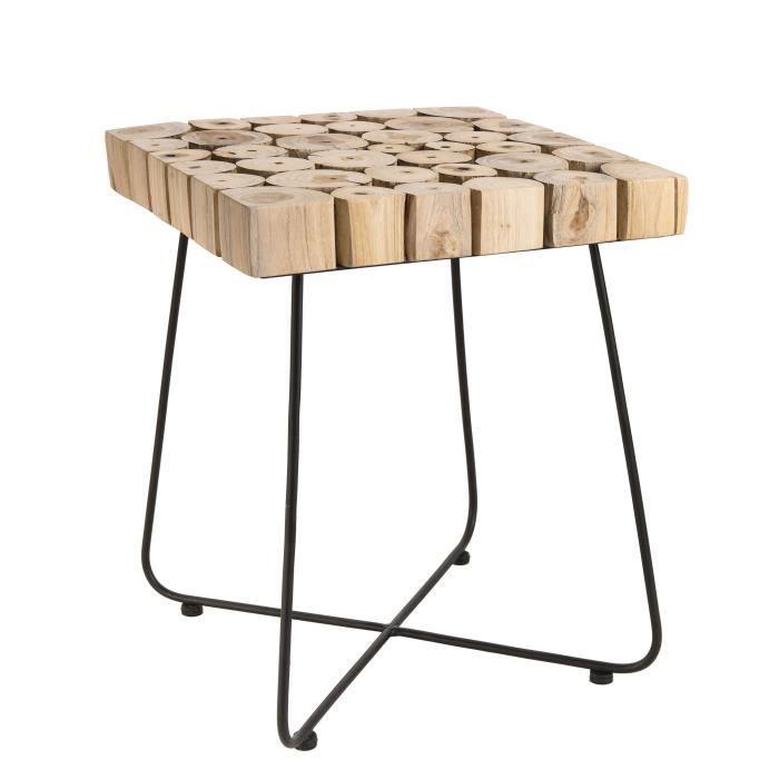 Table d'appoint carrée ethnique en bois teck massif naturel - Pieds scandi en métal - L 41 x l 41 cm