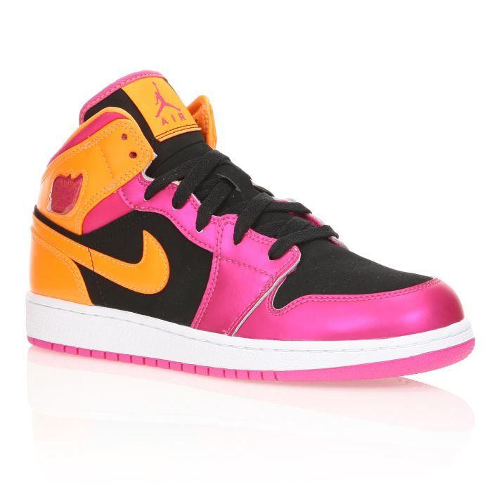 NIKE Baskets Jordan 1 Femme Noir, rose et orange - Achat ...