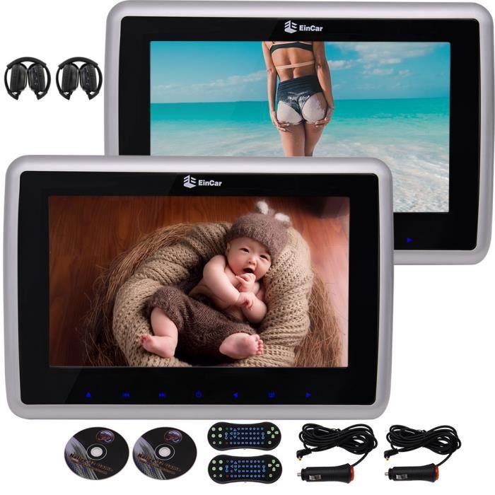 9 « » écran LCD avec écran tactile touches à double lecteur DVD émetteur IR intégré FM support appuie-tête arrière-Siège 1080P