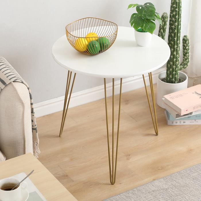 LaiZere!!! Table Basse Ronde Style Scandinave Blanc - Ø 50 CM