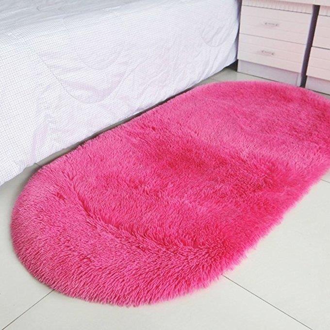 tapis de sol antidérapant velours doux, ovale 100x160 cm, rouge