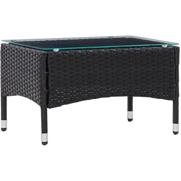 MAG��- Table basse de jardin Table d'extérieur Noir 60x40x36 cm Résine tressée♫5522