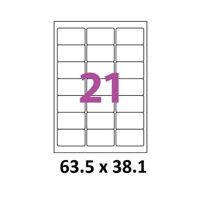100 planches de 21 étiquettes 63,5 x 38,1 mm