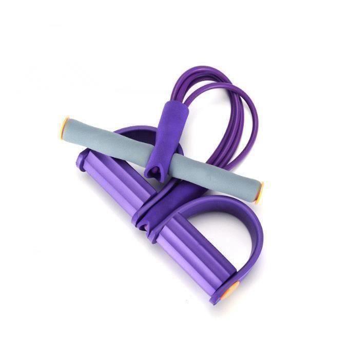 Rameur élastique à abdominaux 4 avec repose-pieds pour exercice de fitness et yoga Violet-L346