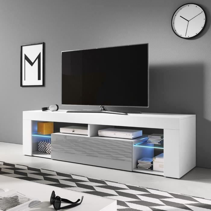 Meuble TV / Banc TV - BIANKO - 140 cm - blanc mat / gris brillant - avec LED - style moderne - tablette en verre
