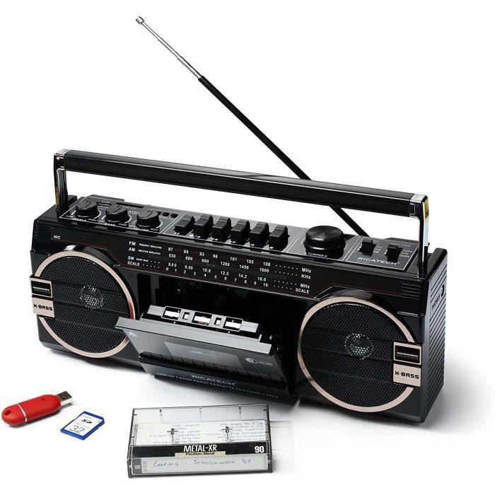 Ricatech PR 1980 Ghetto Blaster Boombox, Lecteur de Cassettes, Radio à 3 fréquences AM/FM/SW, Deux haut-parleurs X-Bass de 8 watts,