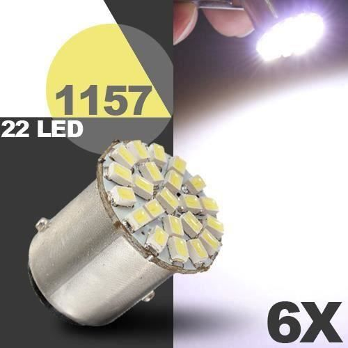 6x T25 S25 1157 P21-5W BAY15d 22 LED 1206 SMD Blanc Feu Stop Lampe Ampoule Voiture Aw46399