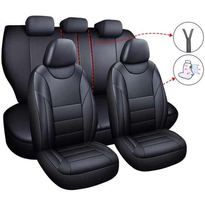 Lot de housses de siège de voiture - Intérieur en cuir synthétique - 5 sièges - Pour Renault CAPTUR Clio KADJAR Laguna (noir)