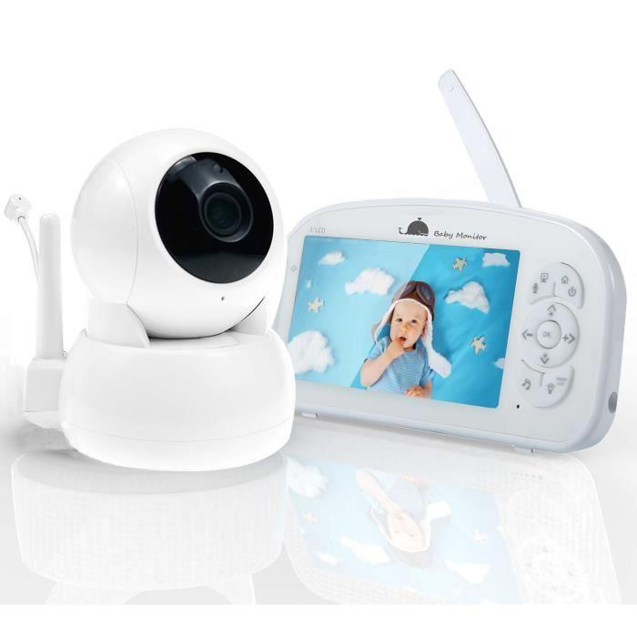 Babyphone Caméra Moniteur Bébé 720P HD 5- Portée 300M, Vision Nocturne, Communication Bidirectionnelle, Capteur de Température
