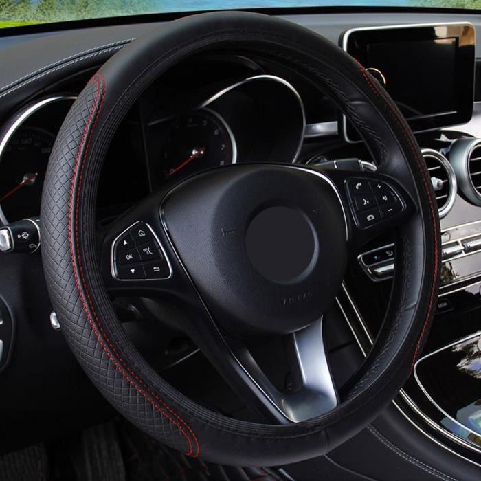 Couvre volant,Housse de volant de voiture en cuir, pour Renault duster megane 2 logan clio - Type black red