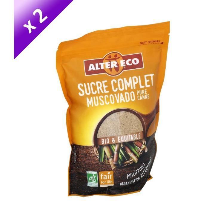 [LOT DE 2] Alter Eco Sucre Complet Muscovado Poudre 500g