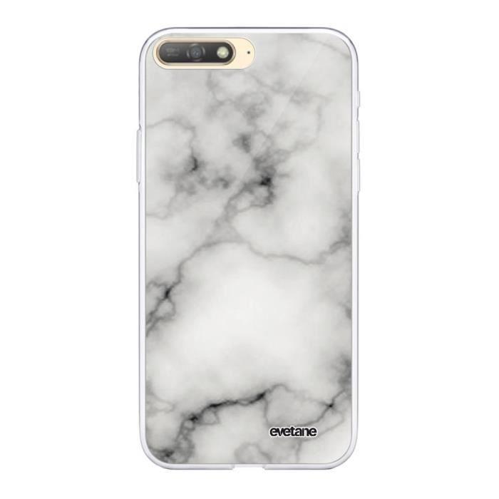 Coque 360 Huawei Y6 2018 360 intégrale transparente Marbre blanc Ecriture Tendance Design Evetane