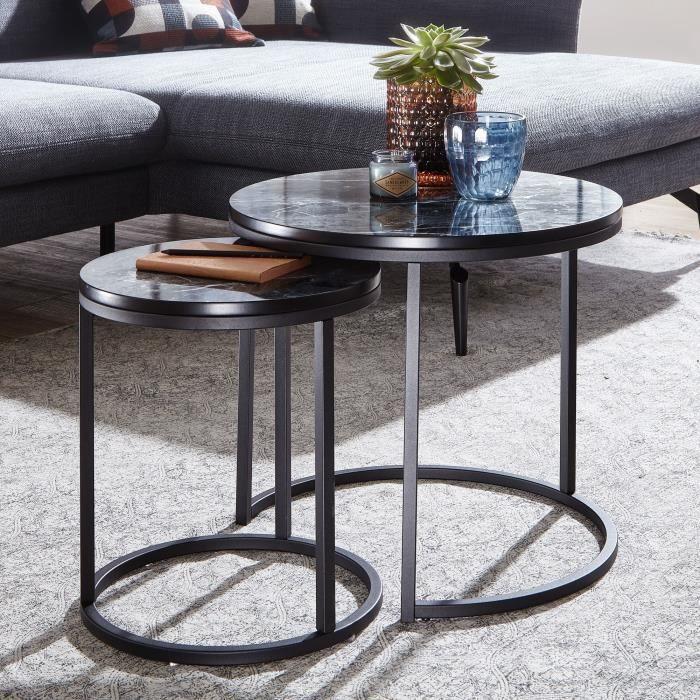 FineBuy Table d'appoint Lot de 2 Effet Marbré Table Basse de Salon Ronde Moderne [Noir / Noir]