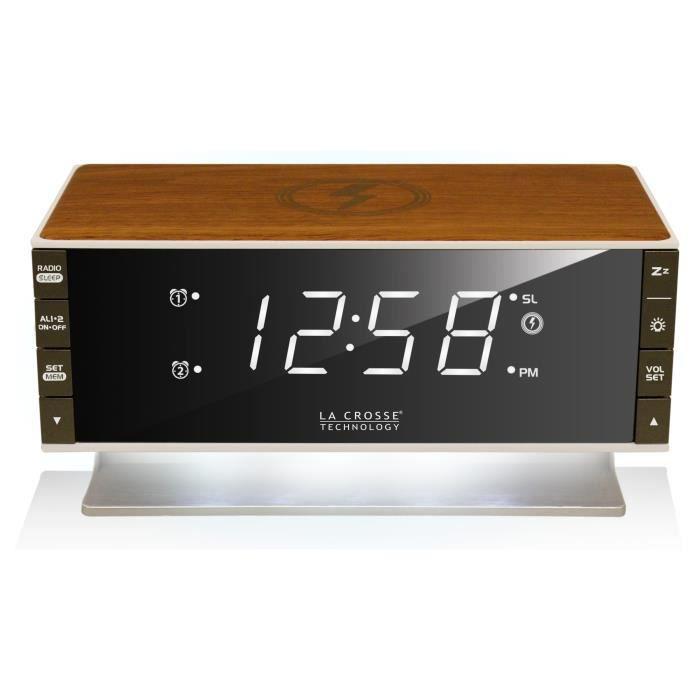 La Crosse Technology - WT-RW0381 - Radio Réveil avec chargeur sans fil pour smartphone,