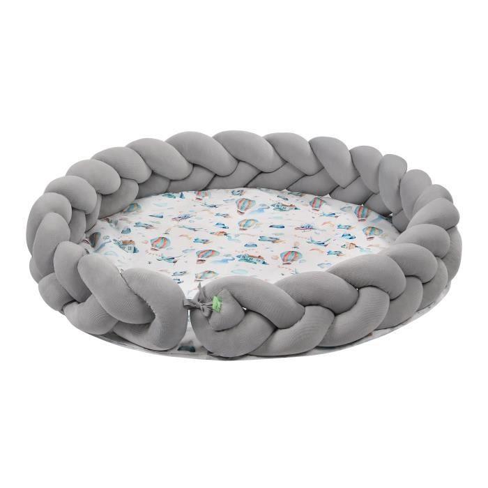 LULANDO Tapis de jeux Braid VELVET Art Collection, tapis d'un diamètre de 100 cm, 100% coton, tapis de jeux pour enfants