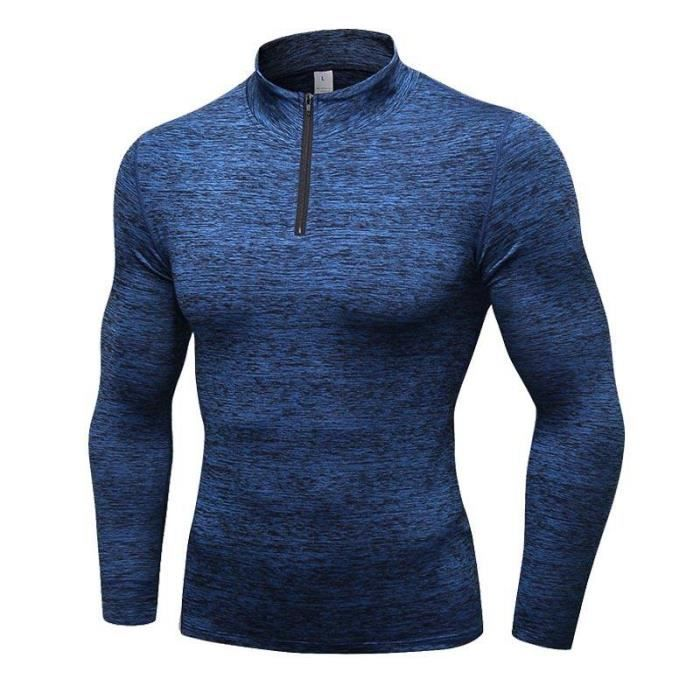 T-Shirt de Sport Compression Homme en Molleton Fitness Running Stretch Séchage Rapide