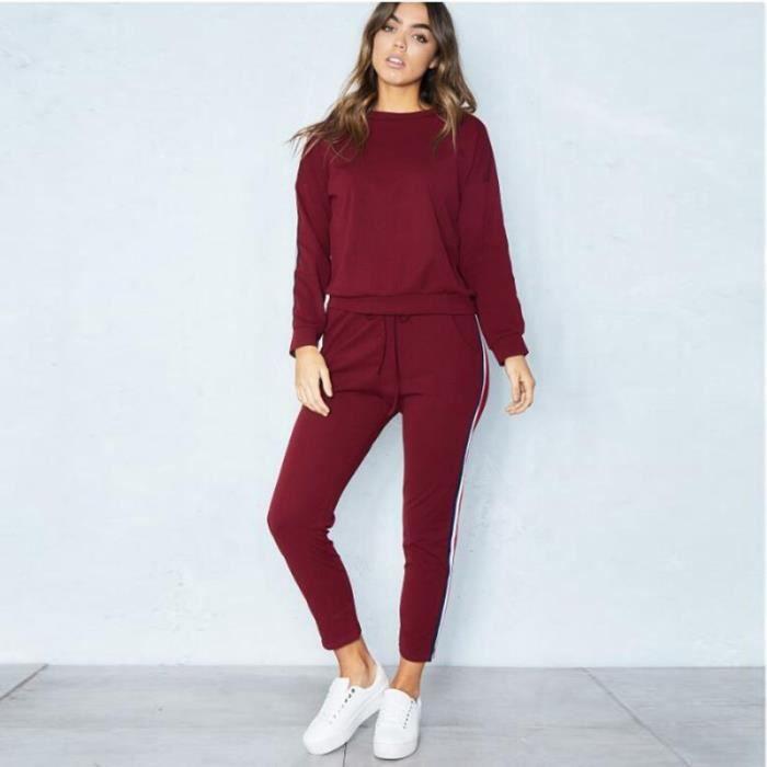 Vêtements Pour Femmes Sweat-Shirt à Capuche Manches Longues + Pantalon Habit de Sport Ensemble 2 Pièces S-XXXL Vin Rouge