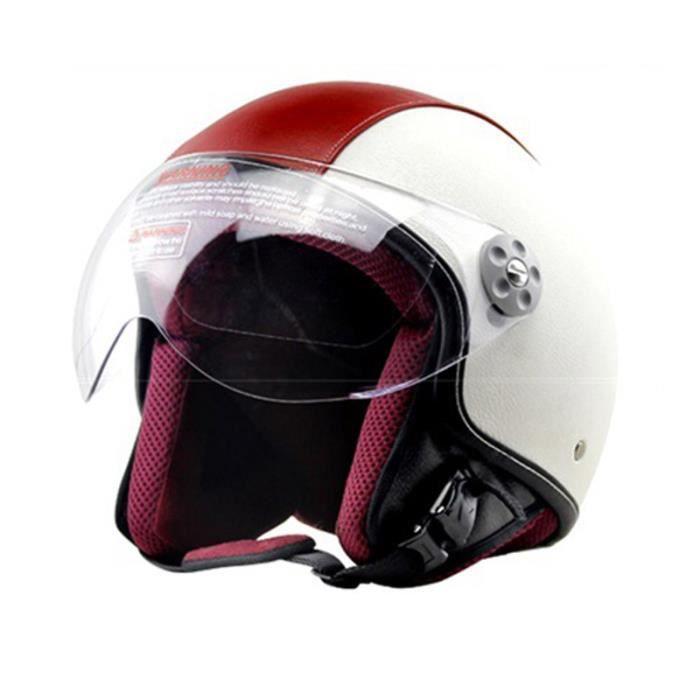 Casque Moto de Marque luxe unisexe Casque Harley vintage rétro moto casque demi casque en pu cuir demi casque de personnality