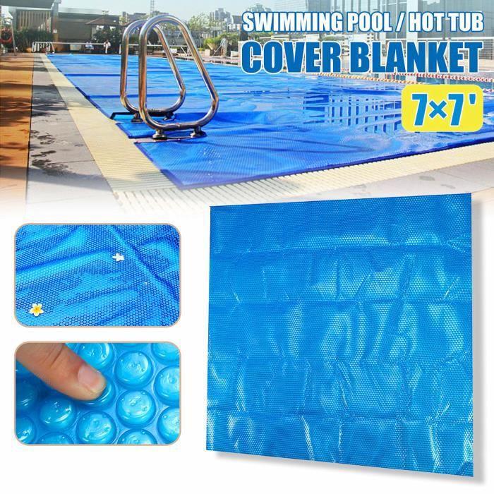 Piscine Bâche à bulles Housse Flottant Film Solaire Chauffage Bassin Couverture Carré 210×210 cm Film d'isolation thermique