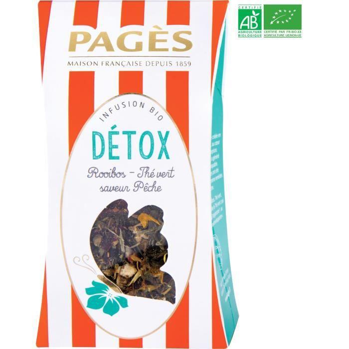 PAGES Infusion Détox - Rooibos, Thé Vert, Pêche - Vrac - Bio