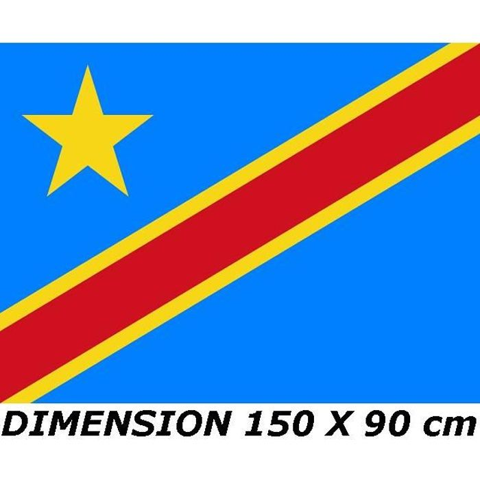 DRAPEAU 150 X 90 cm REPUBLIQUE DEMOCRATIQUE DU CONGO RDC Kinshasa
