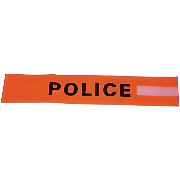 BRASSARD POLICE Brassard orange fluo avec velcro et inscription POLICE