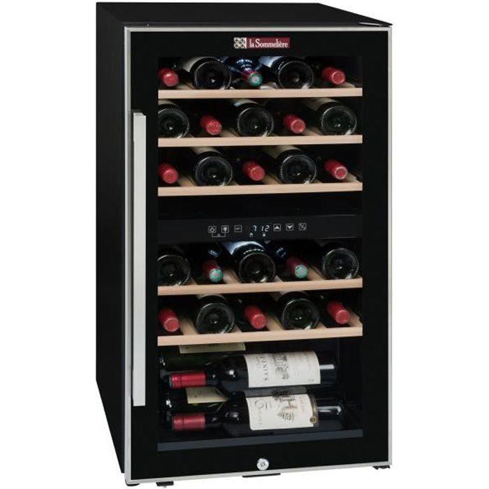 LA SOMMELIERE ECS30.2Z-Cave à vin de service porte vitrée-double zone-cadre noir et inox-29 bouteilles-5 clayettes bois