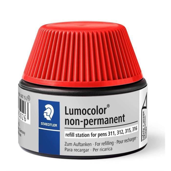 Lumocolor® 487 15 - Flacon recharge 15 ml pour feutres non-permanents 311-312-315-316 rouge