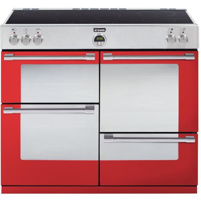 STOVES PSTER110EIJAL-Cuisinière table induction-5 zones-4 fours-Email pristine-39L-69L-39L-69L-A-L 109,6 x H 93 cm-Japaleno