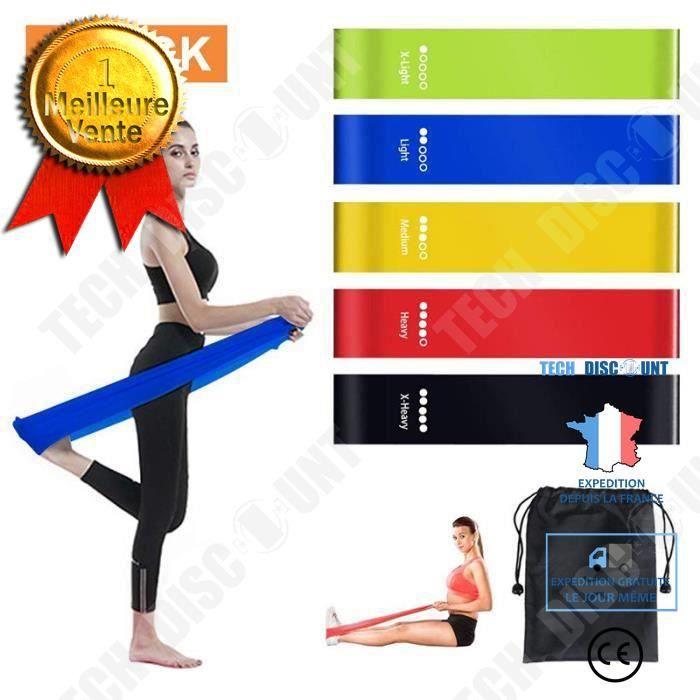 TD® Lot de 5 bandes Élastique Fitness- Bande d'exercice pour Fitness Crossfit Pilates Yoga et physiothérapie- Multifonctionnelles