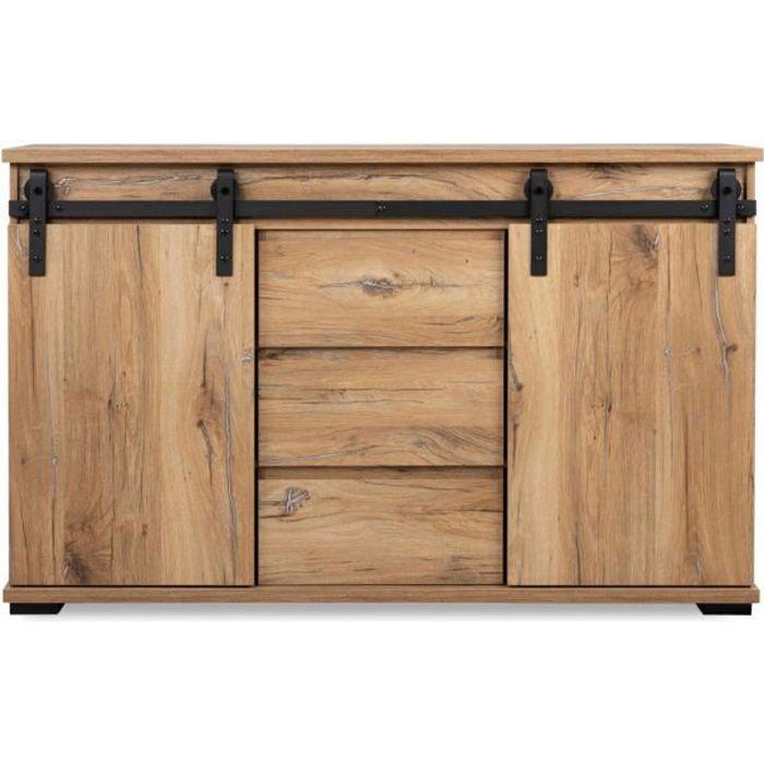 Commode 2 portes coulissantes 3 tiroirs imitation chêne - CO7076 - Bois naturel - Terre de Nuit