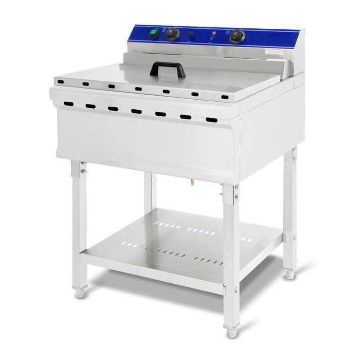 vertes Friteuse 52L (7500 Watt, température réglable jusqu'à 200°C, électrique 400V, capacité 45 litres d'huile, vanne de vidange)