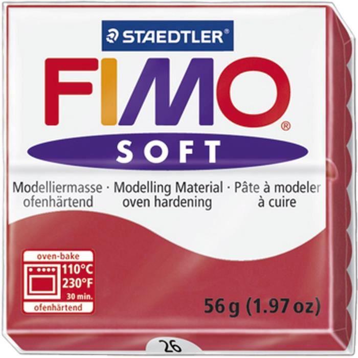 STAEDTLER Pâte à modeler à cuire Fimo Soft bloc 56 g cerise
