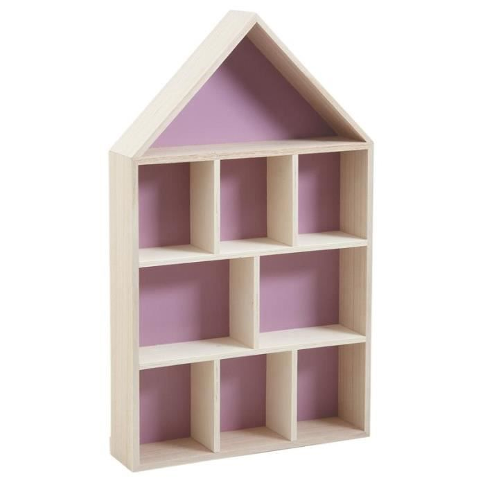 Etag re maison en bois 9 cases achat vente etag re for Bibliotheque en forme de maison